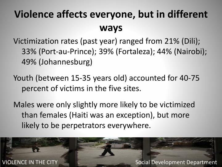 Violence affects everyone, but in different ways