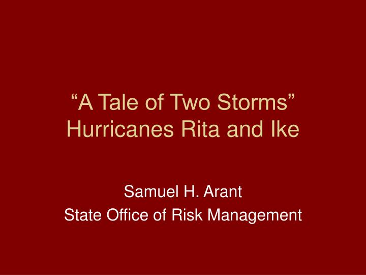 """A Tale of Two Storms"""