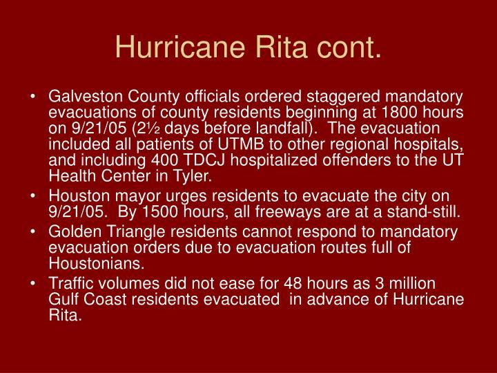 Hurricane Rita cont.