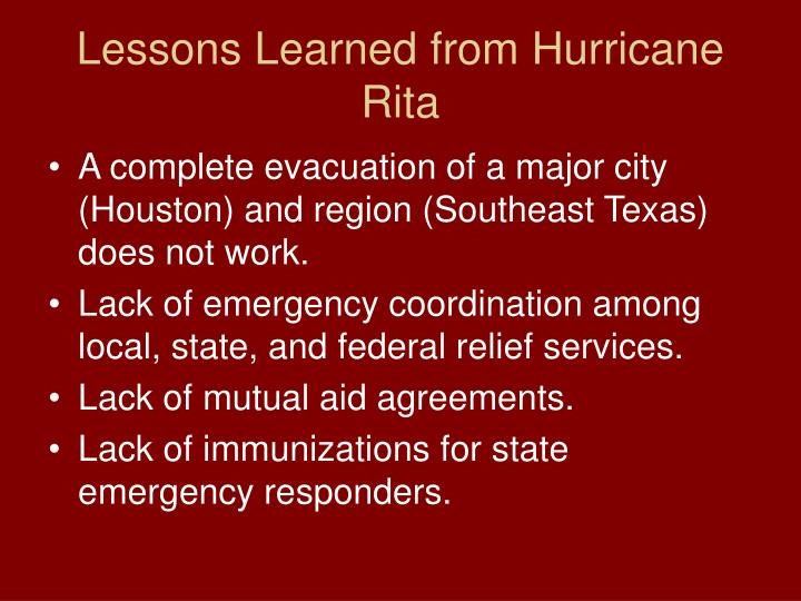 Lessons Learned from Hurricane Rita