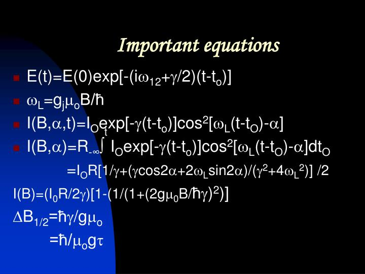 Important equations