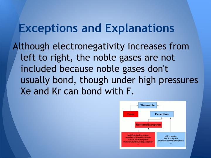Exceptions and Explanations