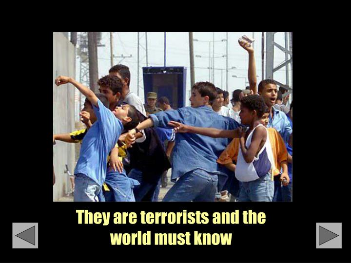 They are terrorists and the world must know