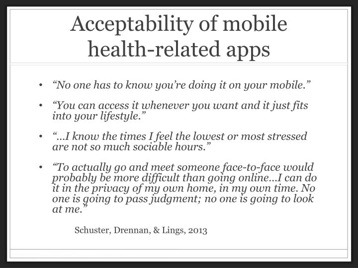 Acceptability of mobile health-related apps
