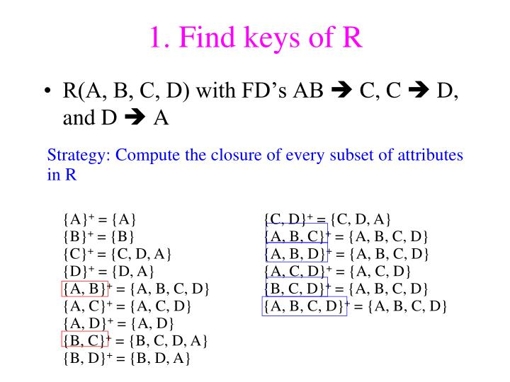 1. Find keys of R