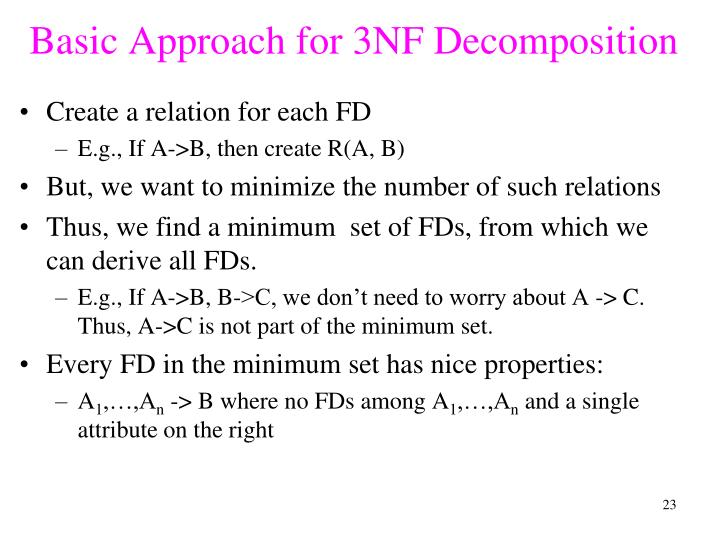 Basic Approach for 3NF Decomposition