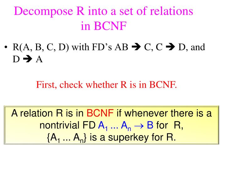 Decompose R into a set of relations in BCNF