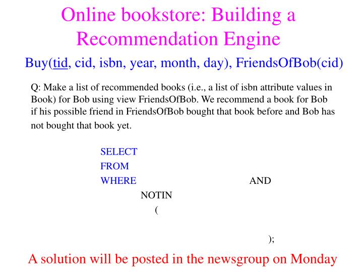 Online bookstore: Building a Recommendation Engine