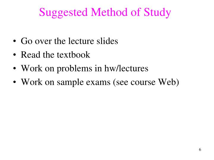 Suggested Method of Study