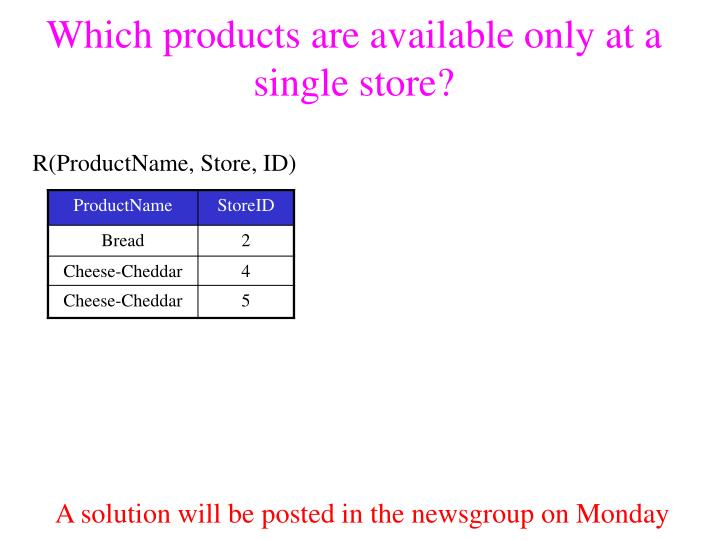 Which products are available only at a single store?