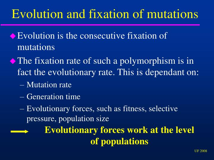 Evolution and fixation of mutations
