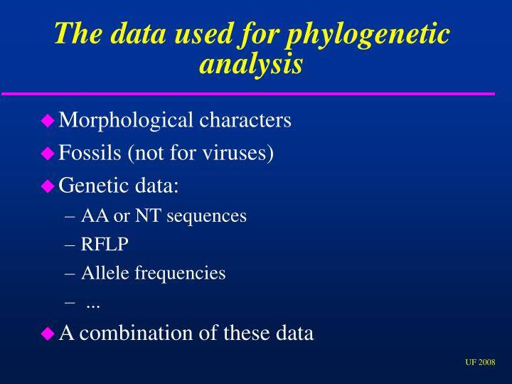 The data used for phylogenetic analysis
