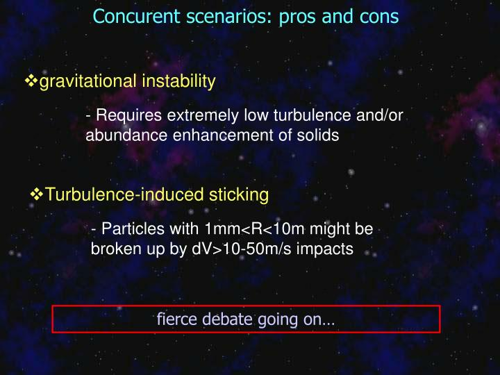 Concurent scenarios: pros and cons