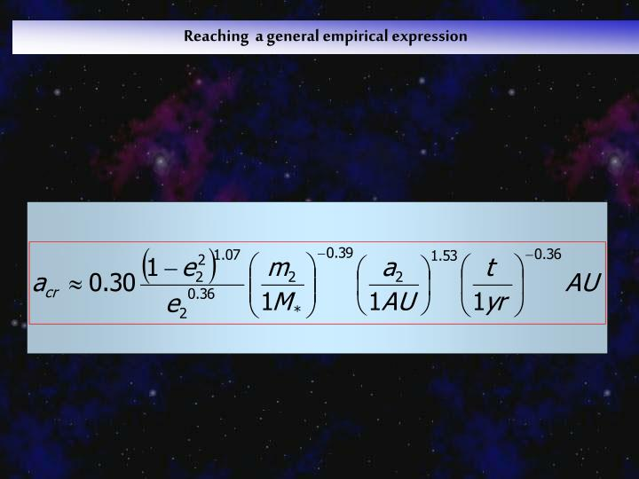 Reaching  a general empirical expression