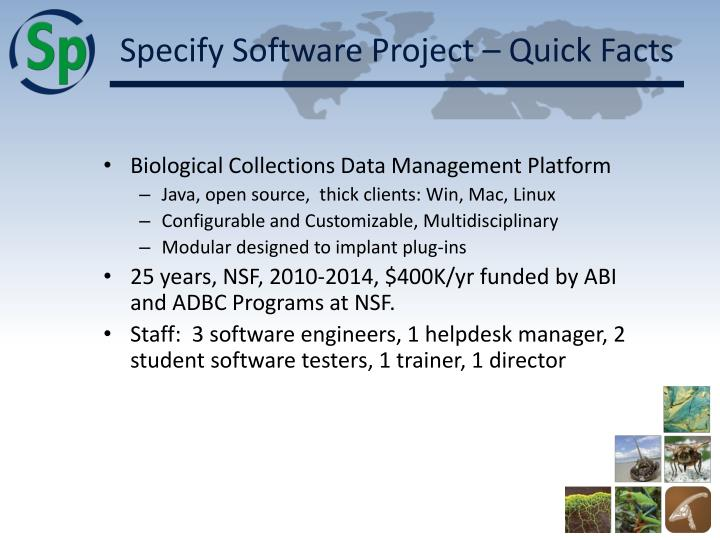 Specify software project quick facts