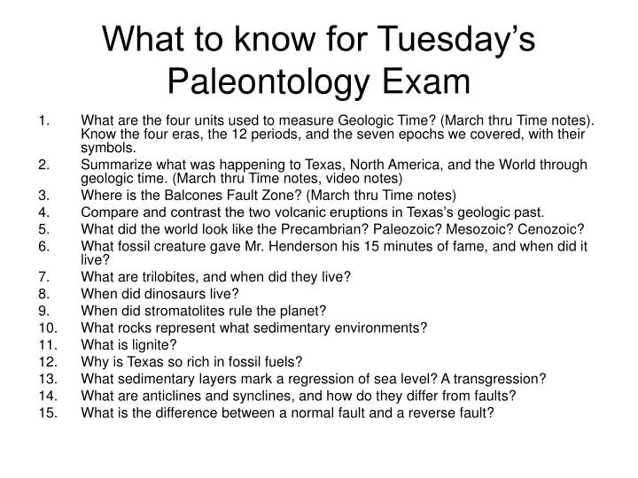 What to know for tuesday s paleontology exam