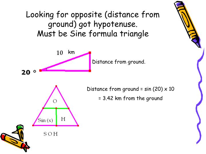 Looking for opposite (distance from ground) got hypotenuse.