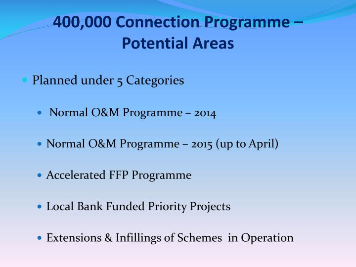 400 000 connection programme potential areas
