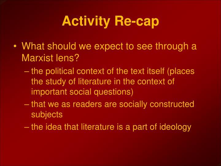 Activity Re-cap