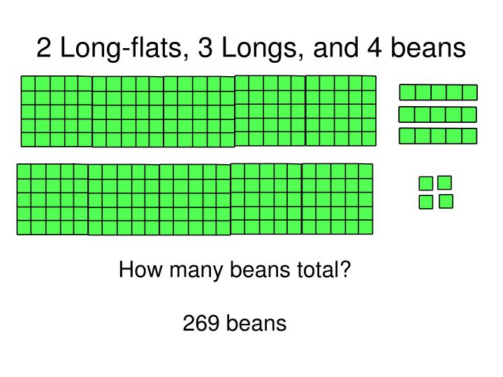 2 Long-flats, 3 Longs, and 4 beans