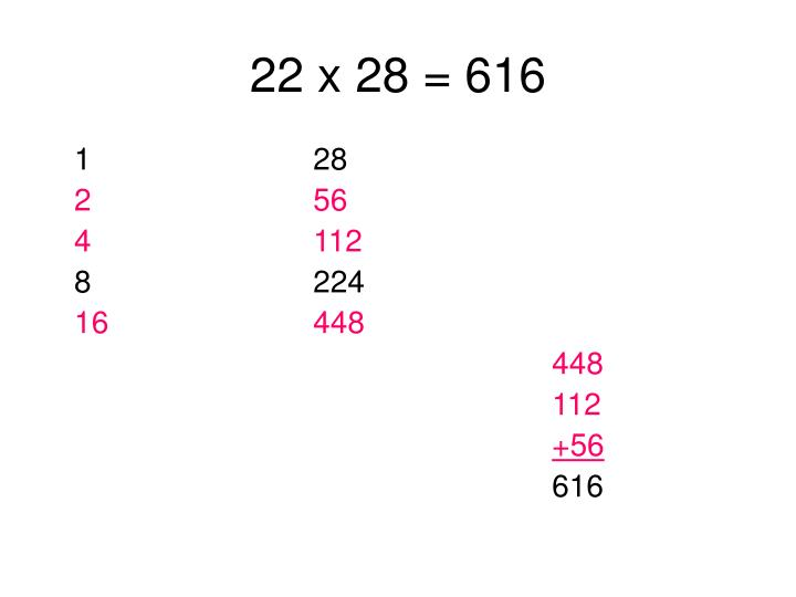 22 x 28 = 616