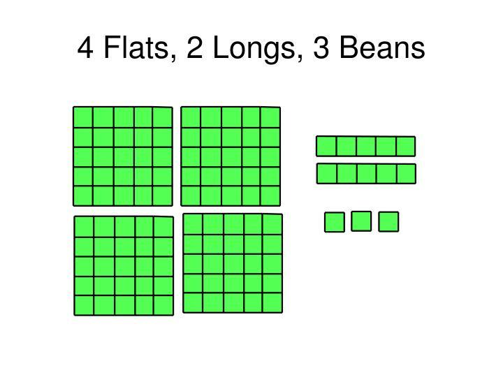 4 Flats, 2 Longs, 3 Beans