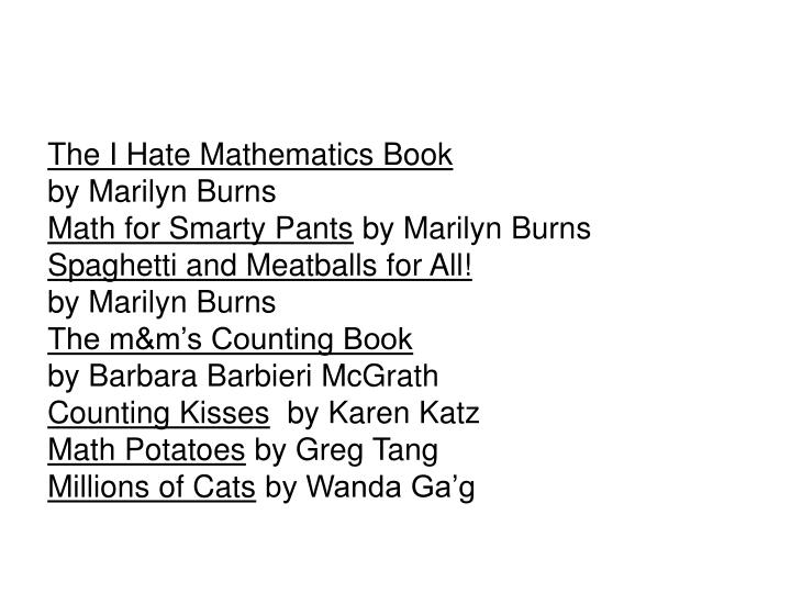 The I Hate Mathematics Book