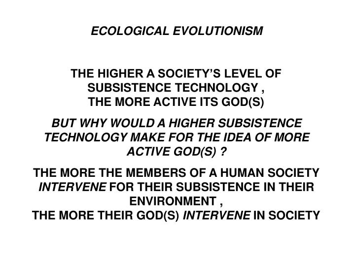 ECOLOGICAL EVOLUTIONISM