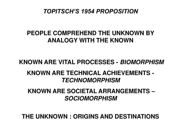 TOPITSCH'S 1954 PROPOSITION