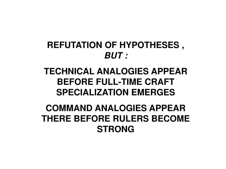 REFUTATION OF HYPOTHESES ,