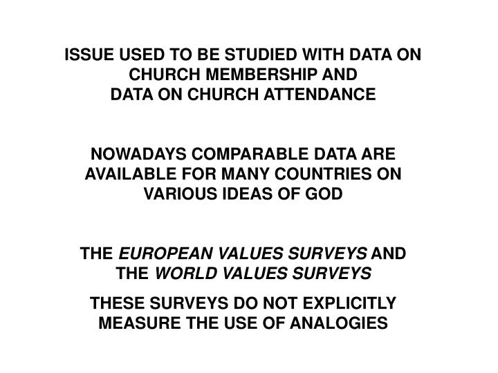 ISSUE USED TO BE STUDIED WITH DATA ON CHURCH MEMBERSHIP AND                    DATA ON CHURCH ATTENDANCE