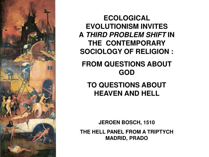 ECOLOGICAL EVOLUTIONISM INVITES        A