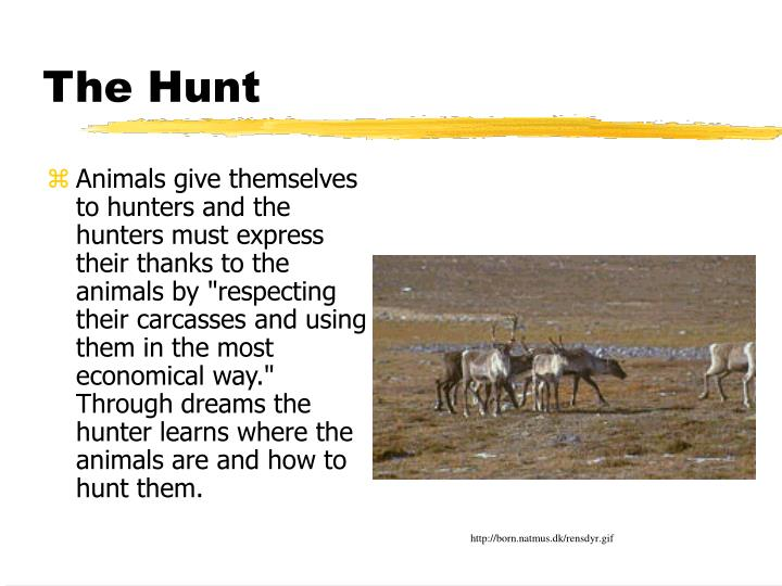 """Animals give themselves to hunters and the hunters must express their thanks to the animals by """"respecting their carcasses and using them in the most economical way.""""  Through dreams the hunter learns where the animals are and how to hunt them."""