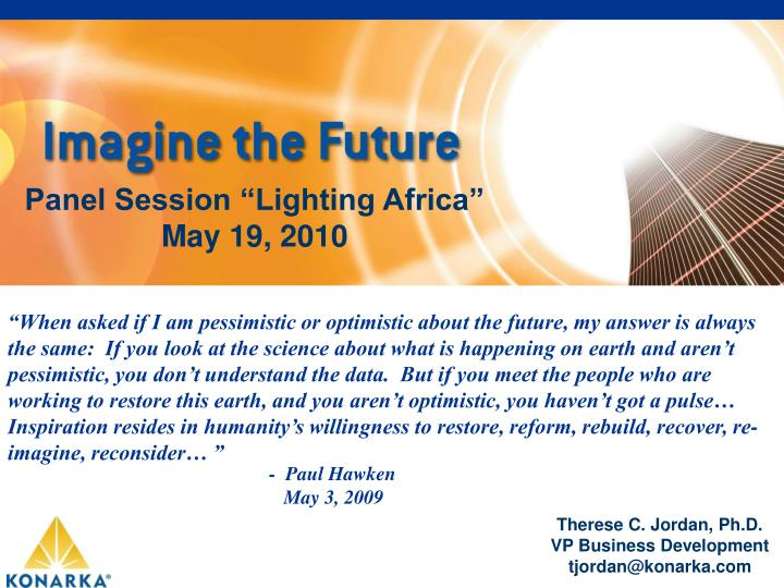 "Panel Session ""Lighting Africa"""