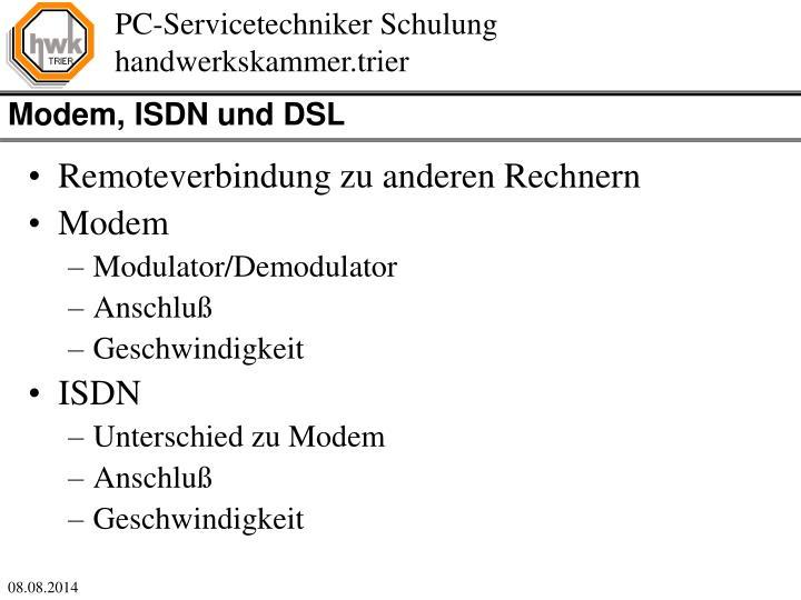 Modem, ISDN und DSL