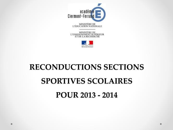RECONDUCTIONS SECTIONS SPORTIVES SCOLAIRES