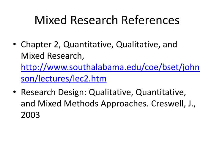 Mixed Research References