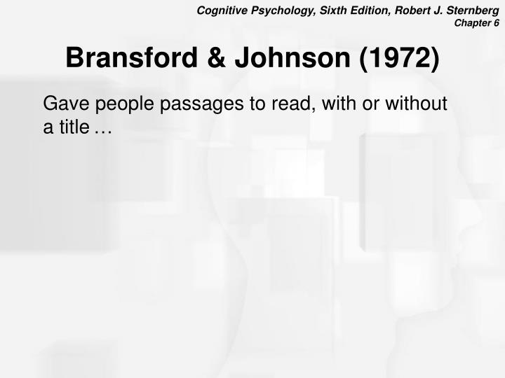 Bransford & Johnson (1972)