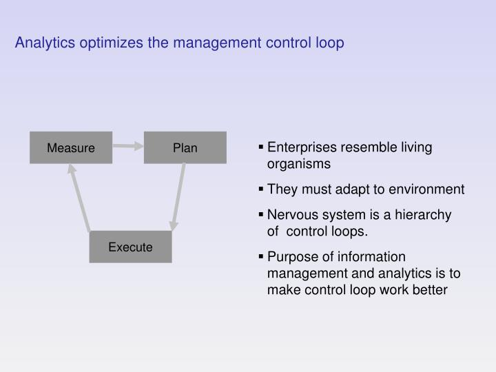 Analytics optimizes the management control loop