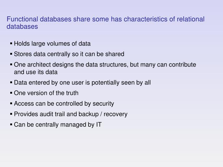 Functional databases share some