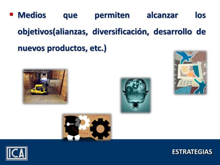 Medios que permiten alcanzar los objetivos(alianzas, diversificación, desarrollo de nuevos productos, etc.)