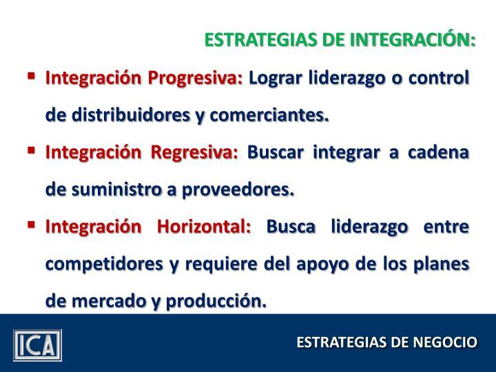 ESTRATEGIAS DE INTEGRACIÓN: