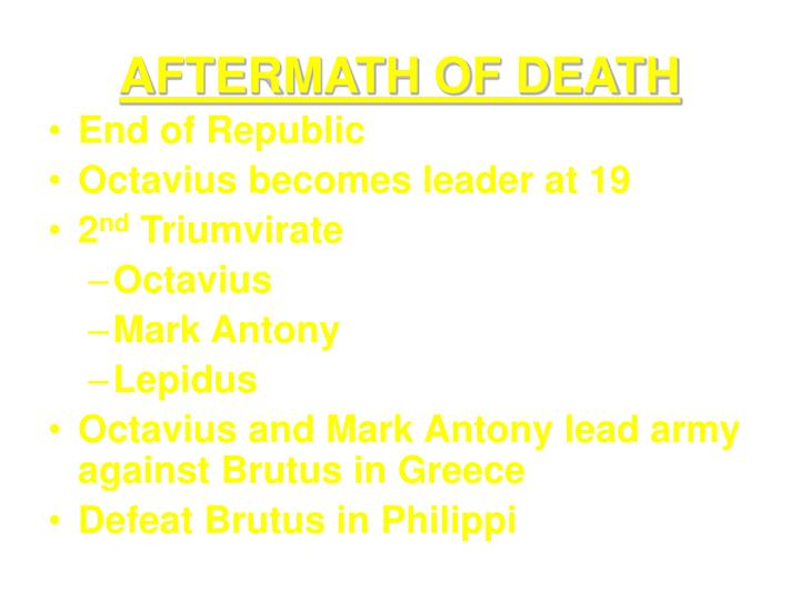 AFTERMATH OF DEATH