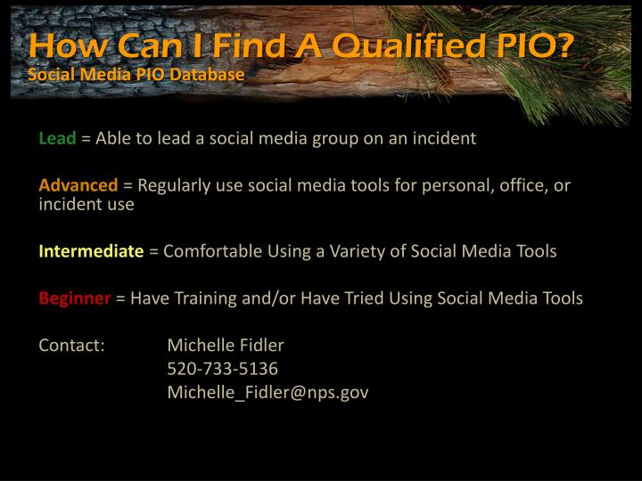How Can I Find A Qualified PIO?