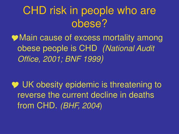CHD risk in people who are obese?