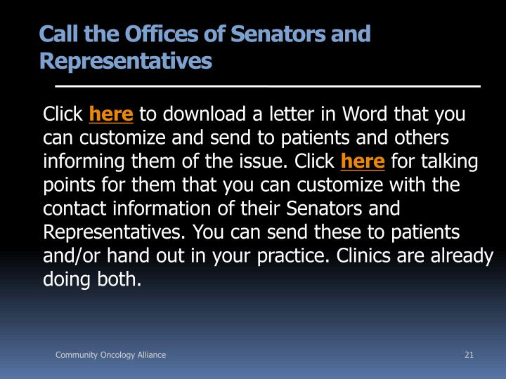 Call the Offices of Senators and