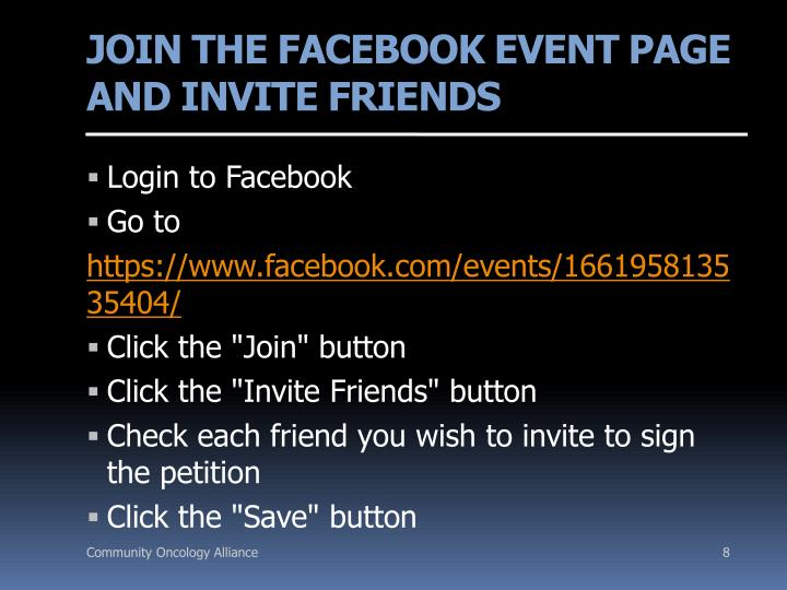 JOIN THE FACEBOOK EVENT PAGE AND INVITE FRIENDS