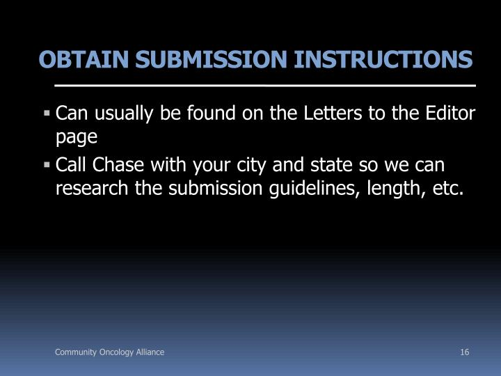 OBTAIN SUBMISSION INSTRUCTIONS