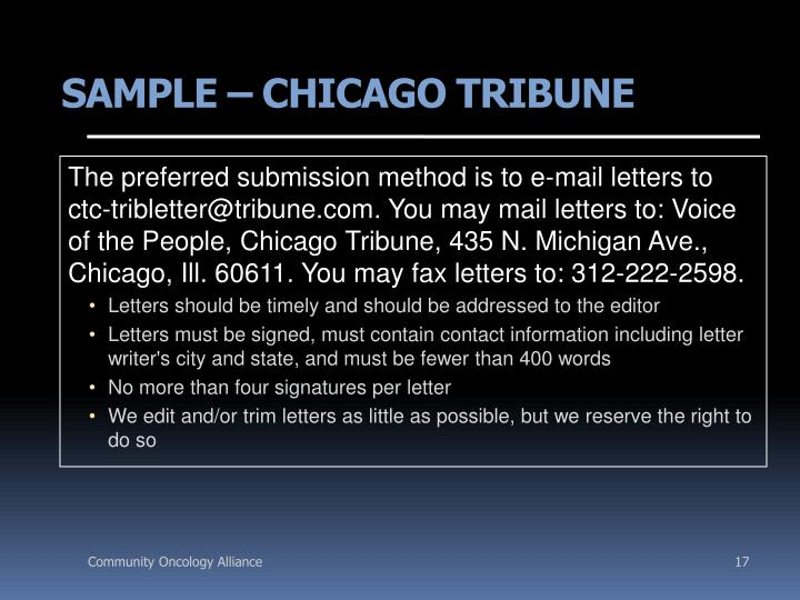 SAMPLE – CHICAGO TRIBUNE