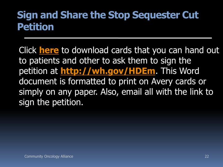 Sign and Share the Stop Sequester Cut Petition